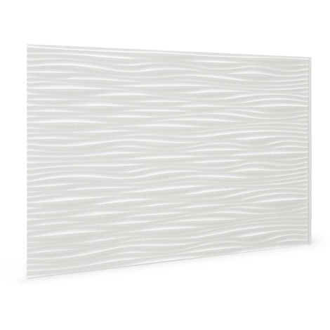 Wall panel 3D Profhome 3D 704551 Wilderness White embossed Decor panel plastic look glossy white 1,7 m2
