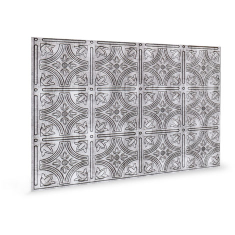 Wall panel 3D Profhome 3D 705216 Empire Crosshatch Silver embossed Decor panel vintage design glossy silver 1,7 m2