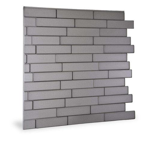 Wall panel 3D Profhome 3D 705257 Piano Steps Smoked Gray smooth Decor panel stone look glossy grey 2 m2