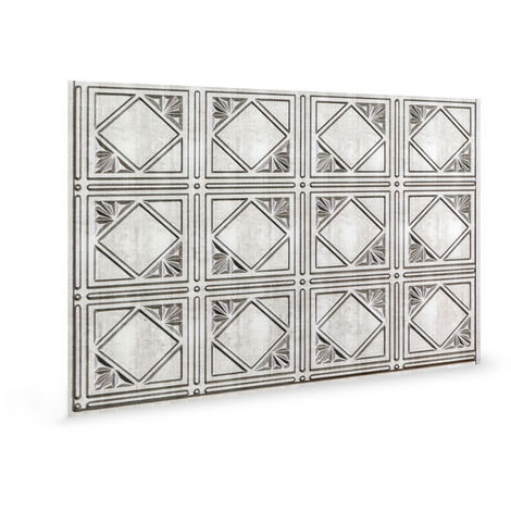 Wall panel 3D Profhome 3D 705632 Artnouvo Crosshatch Silver embossed Decor panel vintage design glossy silver 1,7 m2