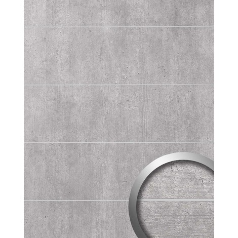 Wall panel cement look WallFace 19103 CEMENT LIGHT 8L concrete stone look brushed metal strips self-adhesive wall panelling light grey | 28 sq ft (2.60 sqm)