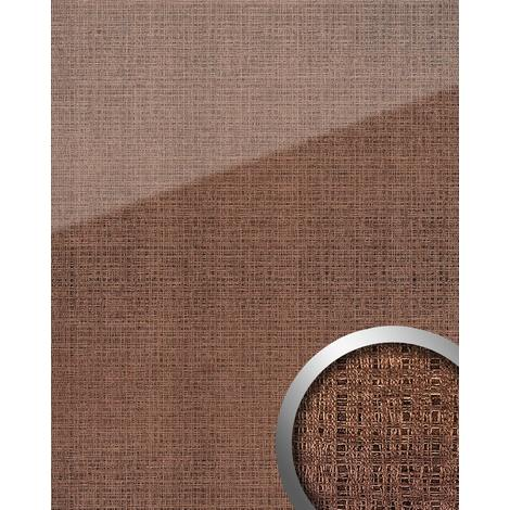 Wall panel glass look WallFace 20220 GRID Rose AR+ smooth Design panelling textile look mirror finish self-adhesive abrasion-resistant pink bronze 2.6 m2