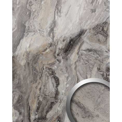 Wall panel marble look WallFace 19340 MARBLE ALPINE smooth Design Panelling natural stone look glossy self-adhesive abriebfest grey brown 2.6 m2