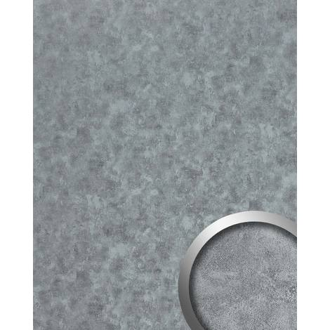 Wall panel metal look WallFace 20189 OXIDIZED Platin smooth Design panelling rusty vintage design glossy self-adhesive abrasion-resistant platinum grey 2.6 m2