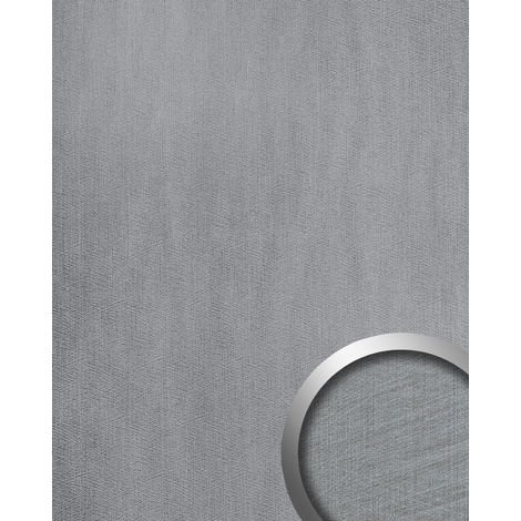 Wall panel metal look WallFace 20193 METALLIC USED Silver AR smooth Design panelling used look glossy self-adhesive abrasion-resistant silver light-grey 2.6 m2