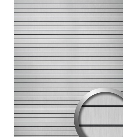 Wall panel self-adhesive WallFace 18585 RIGATO Vintage design horizontal stripes contrast joints silver brushed matt black | 2.60 m2