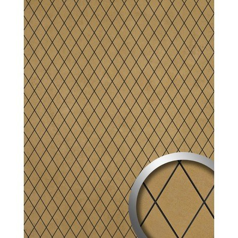 Wall panel self-adhesive WallFace 18586 LINEA Romb mosaic design Luxury wallcovering gold beige | 2,60 sqm