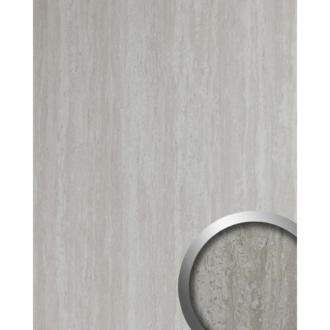 Wall panel stone look WallFace 19567 Antigrav TRAVERTIN textured Decor panel limestone look matt grey white 2,6 m2