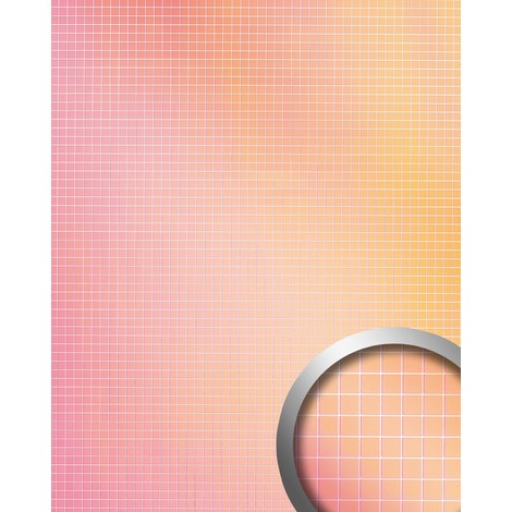 Wall panel wallcovering self-adhesive Mirror design WallFace 18436 M-STYLE HOLLYWOOD Mosaic 5 x 5 mm metallic glossy look pink orange multicolour | 0.96 sqm