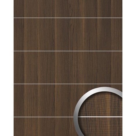 Wall panel wood look WallFace 19099 NUTWOOD 8L walnut wood decor brushed metal strips self-adhesive wall panelling dark brown | 28 sq ft (2.60 sqm)