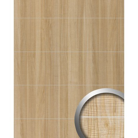 Wall panel wood look WallFace 19101 MAPLE ALPINE 8L maple wood decor brushed metal strips self-adhesive wall panelling light brown | 28 sq ft (2.60 sqm)