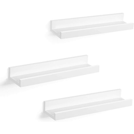 Wall Shelf 3 Set Floating Shelves Ledge for Picture Frames and Books, 38 x 10 cm, MDF White LWS38WT