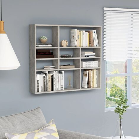 Wall Shelf Concrete Grey 90x16x78 cm Chipboard
