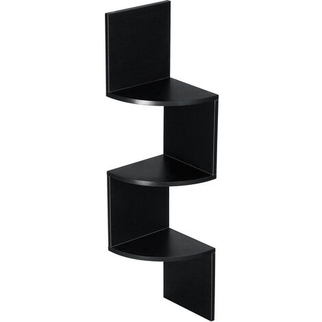 Wall shelf Corner shelf Bookcase 3 levels 20x20x80 cm Black