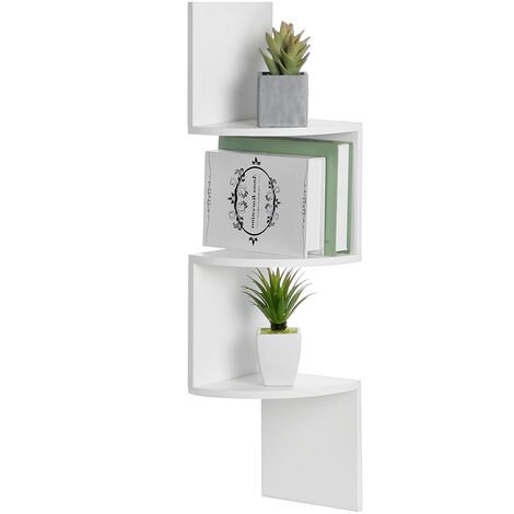 Wall shelf Corner shelf Bookcase 3 levels 20x20x80 cm White