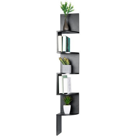 Wall shelf Corner shelf Bookcase 5 levels 20x20x125 cm Black
