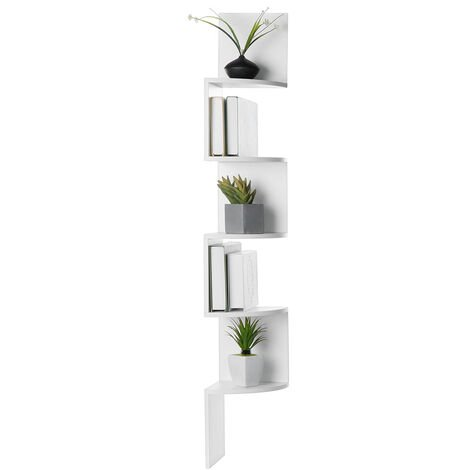 Wall shelf Corner shelf Bookcase 5 levels 20x20x125 cm White