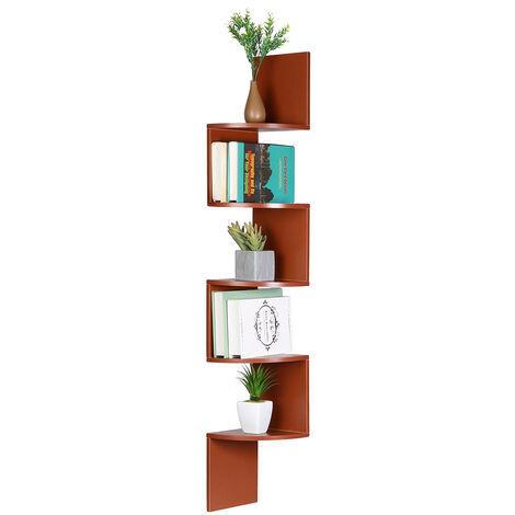 "main image of ""Wall shelf Corner shelf Bookcase 5 levels 20x20x125cm Brown"""