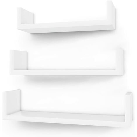 Wall Shelf, Floating Shelves Set of 3, U-shaped Cube Shelves, Decorative White LWS40WT