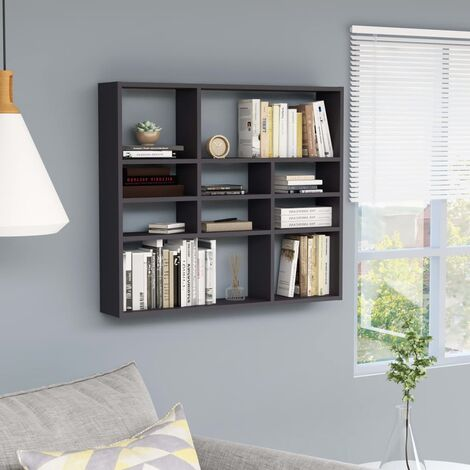 Wall Shelf Grey 90x16x78 cm Chipboard