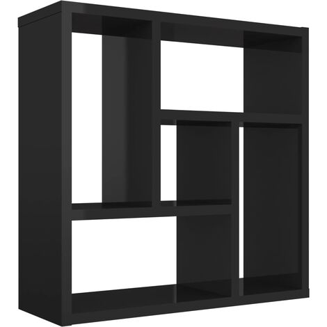 Wall Shelf High Gloss Black 45.1x16x45.1 cm Chipboard