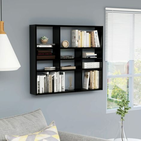 Wall Shelf High Gloss Black 90x16x78 cm Chipboard