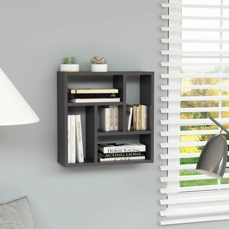 Wall Shelf High Gloss Grey 45.1x16x45.1 cm Chipboard