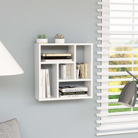 Wall Shelf High Gloss White 45.1x16x45.1 cm Chipboard