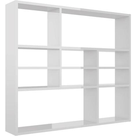 Wall Shelf High Gloss White 90x16x78 cm Chipboard