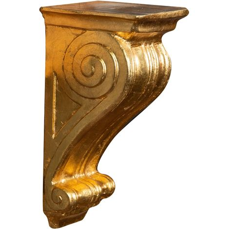 WALL SHELF IN ANTIQUE GOLD LEAF FINISH MADE IN ITALY