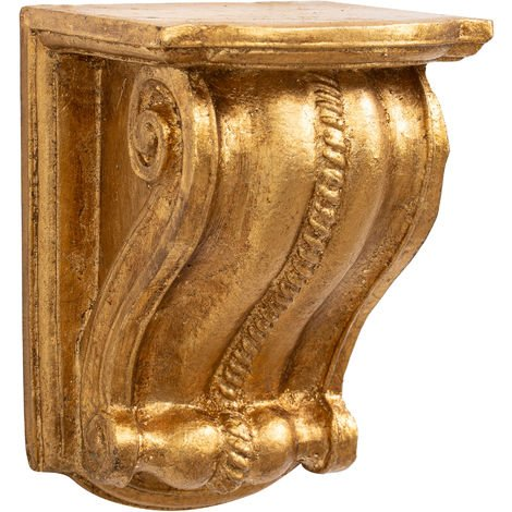 Wall shelf in antique gold leaf finish wood Made in Italy