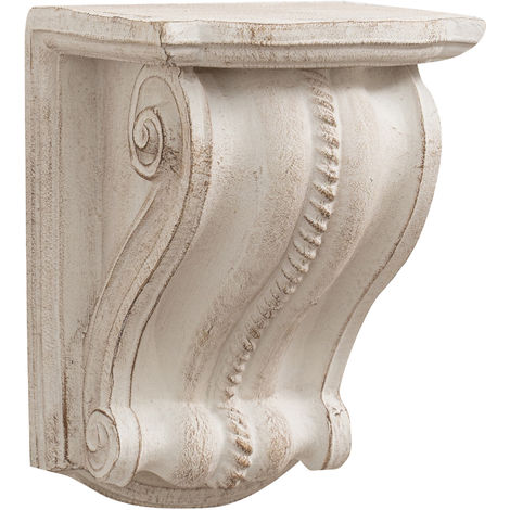 Wall shelf in antique white finish wood Made in Italy