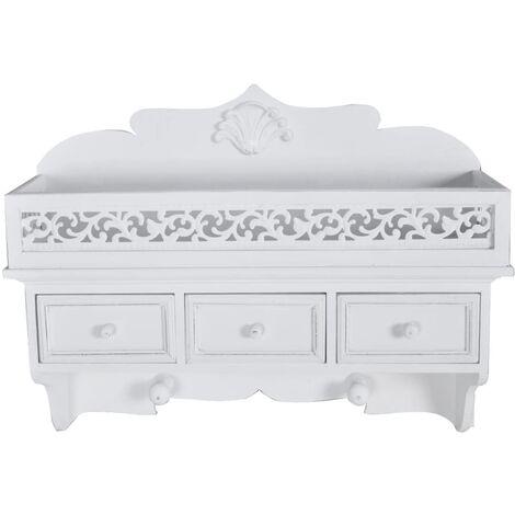 Wall Shelf/Peg with 3 Drawers 2 Hooks - White