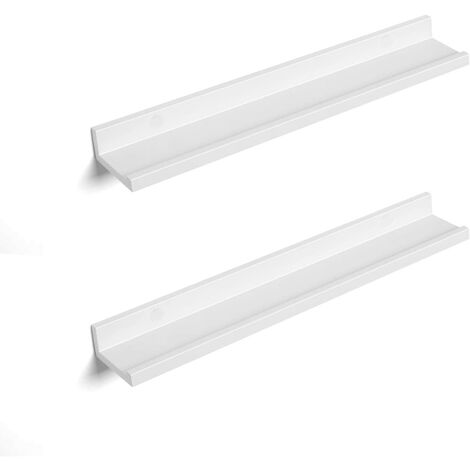 Wall Shelf Set of 2, 2 Suspended Shelves with High Gloss Finish, Wall Shelf for Picture Frames and Books, Living Room, Bedroom, Bathroom, Kitchen, Stable, Easy Assembly, White, Glossy LWS60WT
