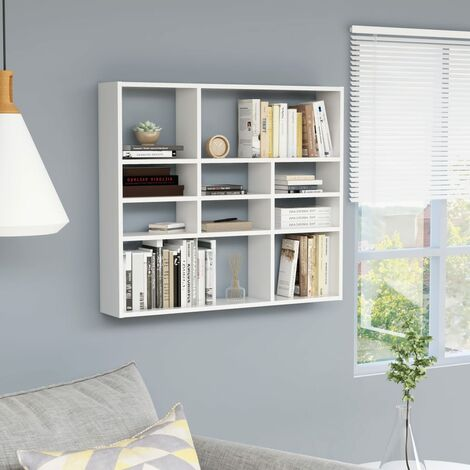 Wall Shelf White 90x16x78 cm Chipboard