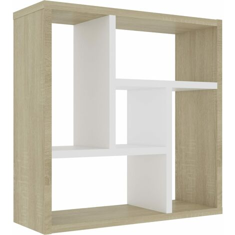 Wall Shelf White and Sonoma Oak 45.1x16x45.1 cm Chipboard