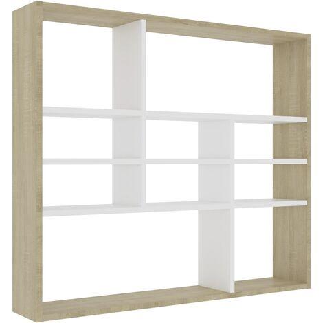 Wall Shelf White and Sonoma Oak 90x16x78 cm Chipboard