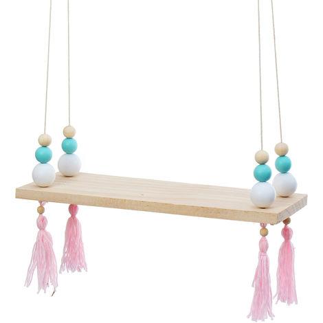 Wall Shelf Wood Shelf With Hanging Ropes Fringe Decor Home Storage E Hasaki