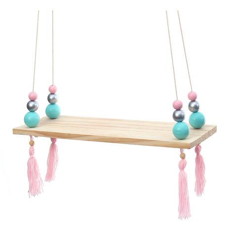 Wall Shelf Wood Shelf With Hanging Ropes Fringe Decor Home Storage C