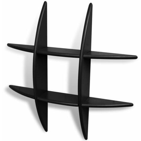 Wall Shelves 2 pcs Black