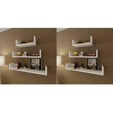 Wall Shelves 6 pcs White - White