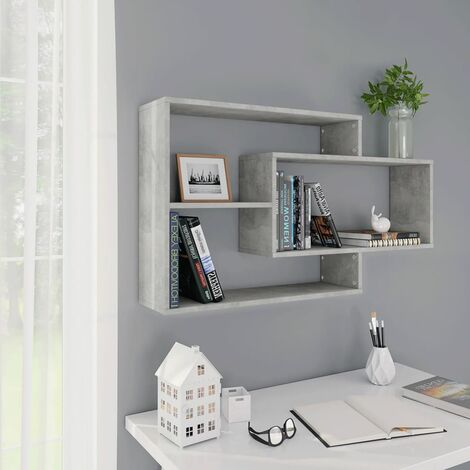 Wall Shelves Concrete Grey 104x20x60 cm Chipboard