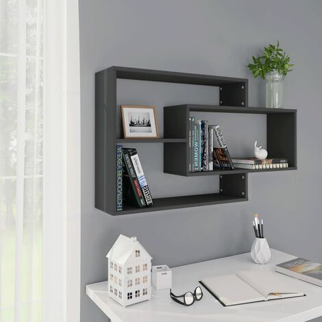 Wall Shelves Grey 104x24x60 cm Chipboard