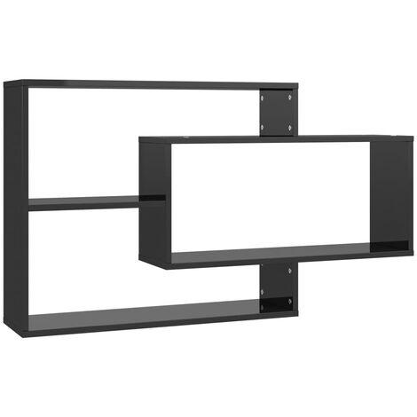 Wall Shelves High Gloss Black 104x20x60 cm Chipboard