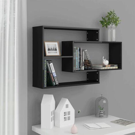 Wall Shelves High Gloss Black 104x20x60 cm Chipboard - Black