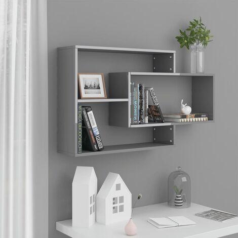 Wall Shelves High Gloss Grey 104x20x60 cm Chipboard