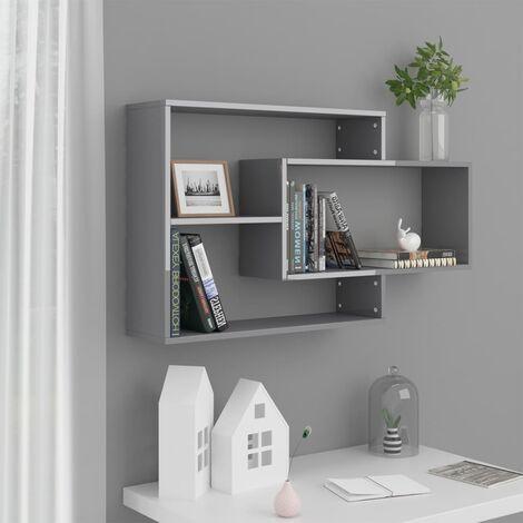 Wall Shelves High Gloss Grey 104x20x60 cm Chipboard - Grey