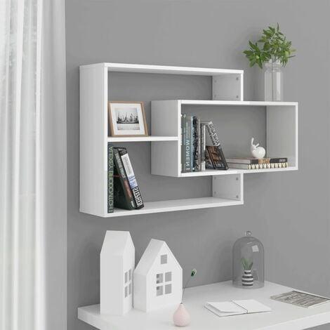 Wall Shelves High Gloss White 104x20x60 cm Chipboard - White