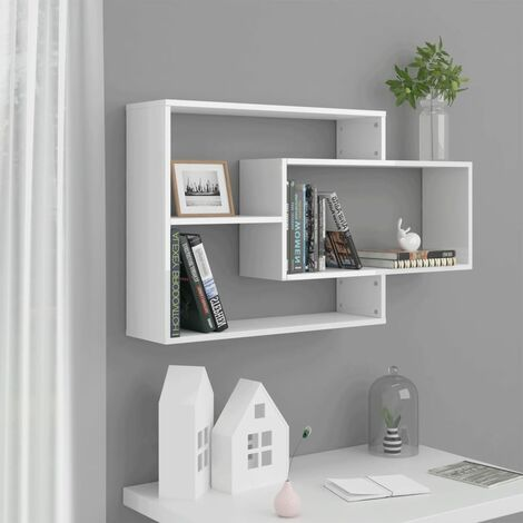 Wall Shelves High Gloss White 104x24x60 cm Chipboard