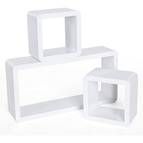 Wall Shelves Set of 3 Cube Floating Shelves Storage MDF Display Weight Capacity 15kg White LWS102